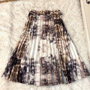 Topshop Tan Tie dye pleated Long Skirt Sz 12